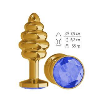 512-07 BLUE-DD / Анальная втулка Gold Spiral с синим кристаллом маленькая