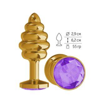 512-08 PURPLE-DD / Анальная втулка Gold Spiral с фиолетовым кристаллом маленькая