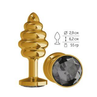 512-09 BLACK-DD / Анальная втулка Gold Spiral с черным кристаллом маленькая