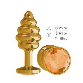 512-10 ORANGE-DD / Анальная втулка Gold Spiral с оранжевым кристаллом маленькая