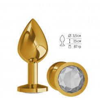 520-01 WHITE-DD / Анальная втулка Gold с прозрачным кристаллом средняя