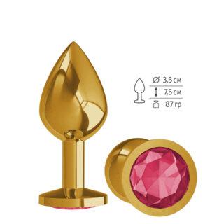 520-02 CRIMSON-DD / Анальная втулка Gold с малиновым кристаллом средняя