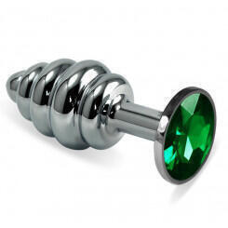 Анальная пробка ребристая LoveToys Butt Plug S с зеленым кристаллом, серебряная