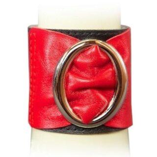 Браслет чёрно-красный с овальной пряжкой