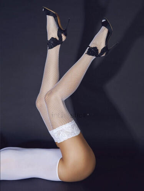 Чулки белые в мелкую сетку с кружевной резинкой на силиконе Le Frivole Sense
