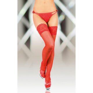 Чулки Soft Line с кружевной резинкой красные, XL