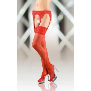 Чулки Soft Line с кружевной резинкой с поясом красные, XL