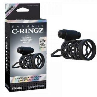 Эрекционное кольцо насадка с подхватом мошонки с вибрацией C-Ringz, черное