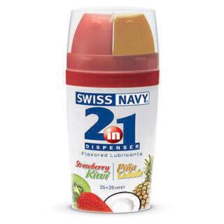 Оральный лубрикант Swiss Navy со вкусом клубники и киви - 2 х 25 мл