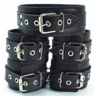 Коричневые наручники с мехом