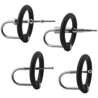 Набор уретральных плагов с кольцами на головку пениса KINK - Ring & Plug Set - Silicone & Stainless Steel Cock Accessory