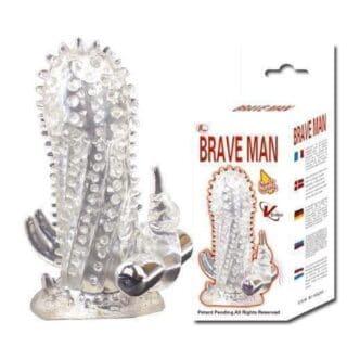 Насадка-удлинитель с пупырышками, усиками и вибропулькой Brave Man - Baile