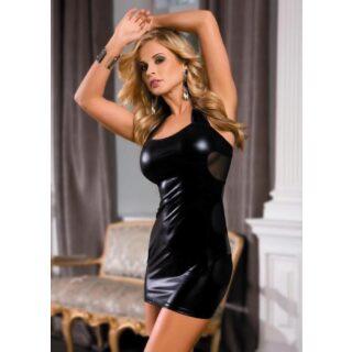 Платье c wetlook-эффектом черное-OS