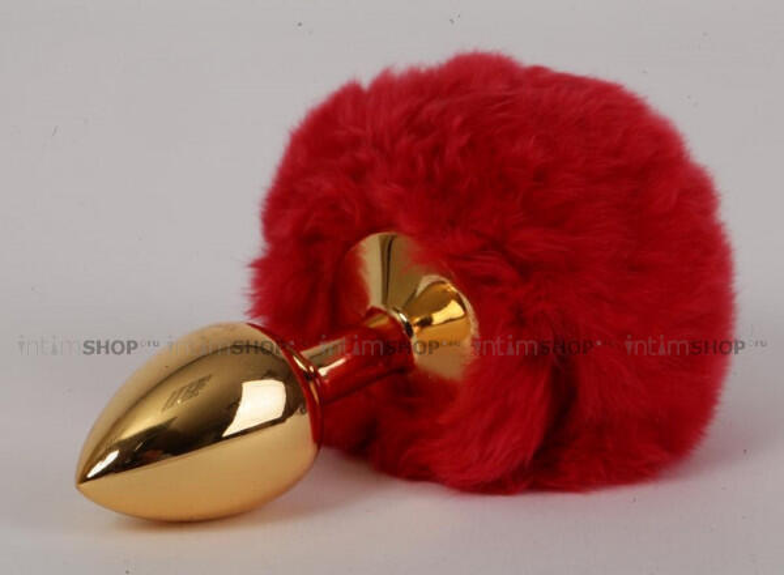 Пробка c хвостом задорный кролик Luxurious Tail, красная