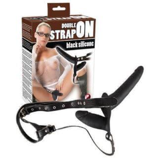 Анальный страпон с вагинальной стимуляцией Orion Double Strap On, черный