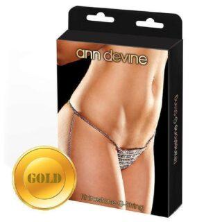 Трусики-Стринги из Кристаллов Rhinestone G-String, золотистые QS